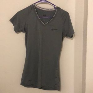Grey, dry fit Nike workout top